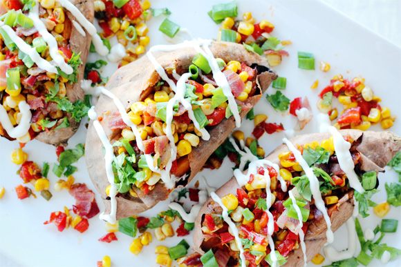 Fresh Corn & Bacon Hash Stuffed Sweet Potatoes with Lime Crema | Clara ...